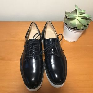 BLUE ZARA PLATFORM OXFORDS!